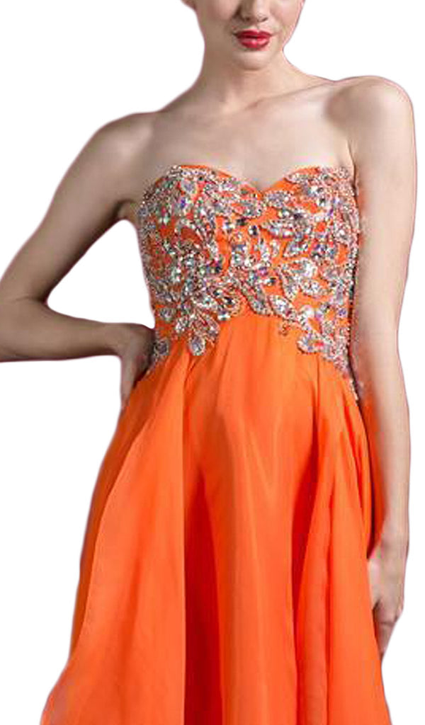 Strapless Embellished Tiered A-line Evening Gown