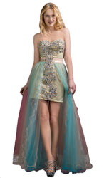 Glistening Strapless Prom Dress with Long Tulle Skirt
