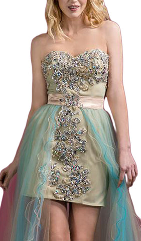 Strapless Beaded Evening Dress with Overskirt
