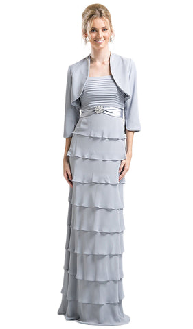Pleated Straight Tiered Column Dress With Bolero