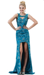Faux Jewel High Neck Fitted Dress with Slit