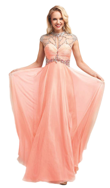 Sheer Embellished Ruched High Neck Evening Dress
