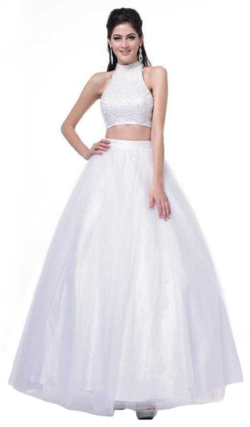 Two Piece Beaded High Halter Ballgown