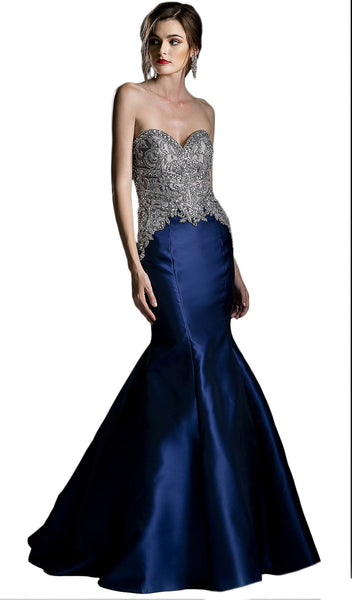 Embellished Strapless Mermaid Evening Gown