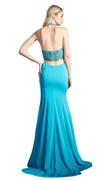 Embellished High Halter Fitted Evening Gown