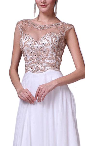 Beaded Cap Sleeve A-line Chiffon Evening Gown