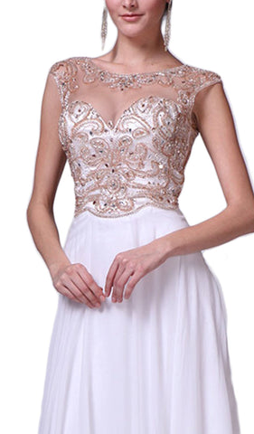 Beaded Cap Sleeve A-line Chiffon Evening Gown - ADASA