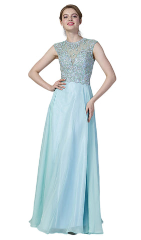 Embellished Illusion Jewel Neck A-line Gown