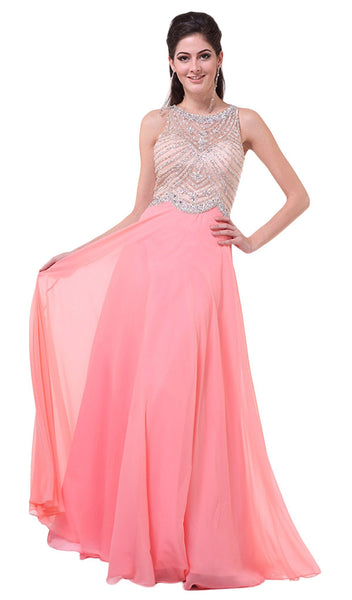 Crystal Embellished A-Line Evening Gown - ADASA