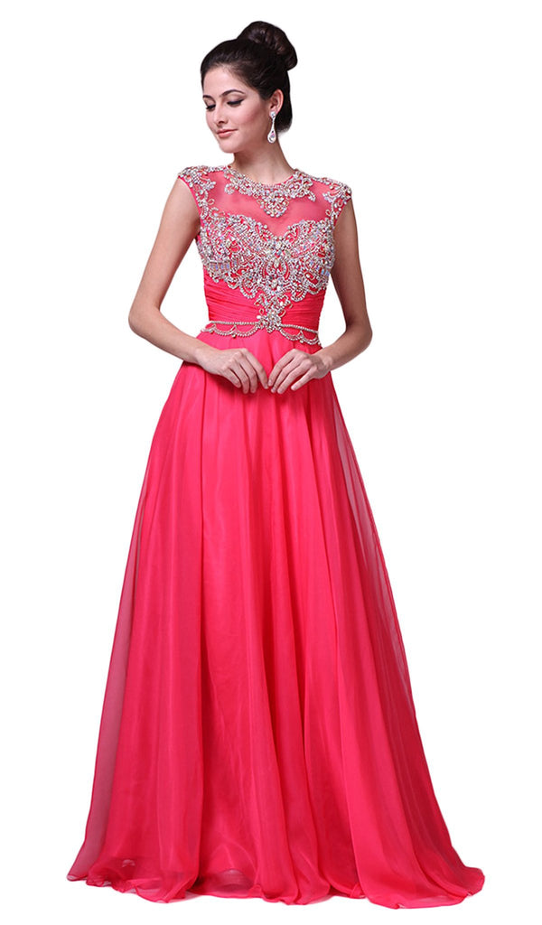 Crystal Embellished Ruched Evening Gown - ADASA
