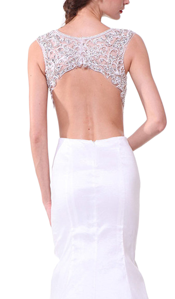 Plunging Illusion Notched Embellished Evening Gown