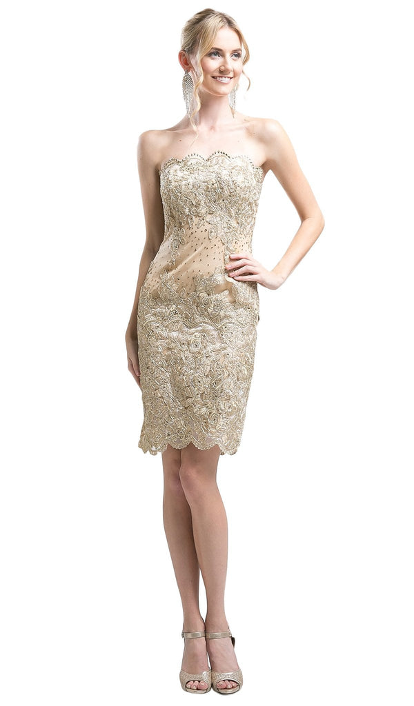 Rosette Applique Sheath Fitted Cocktail Dress