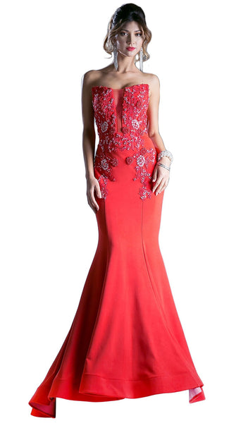 Strapless Embellished Mermaid Evening Gown