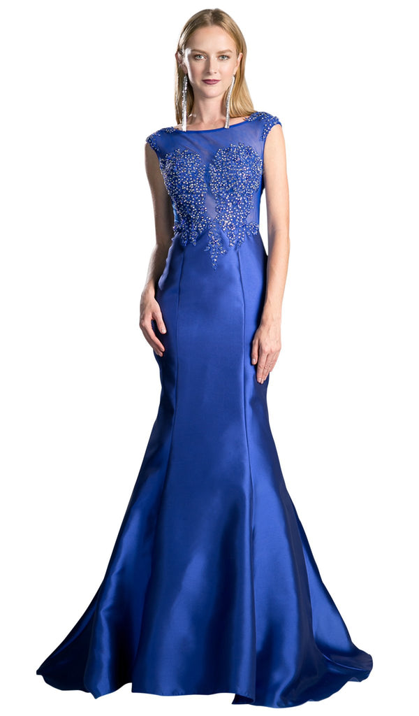 Cap Sleeve Appliqued Plunging Illusion Gown - ADASA