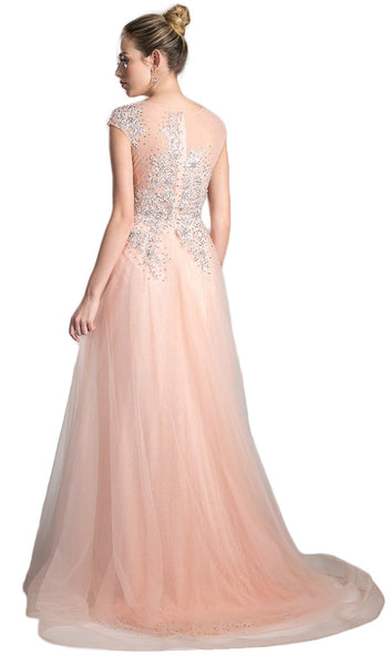 Sheer Scoop Beaded Tulle A-Line Evening Gown
