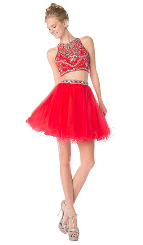 Two-Piece Crystal Ornate Illusion A-Line Dress