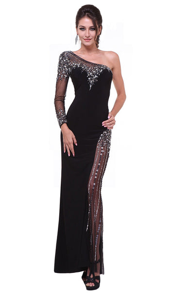Embellished One Shoulder Fitted Evening Dress