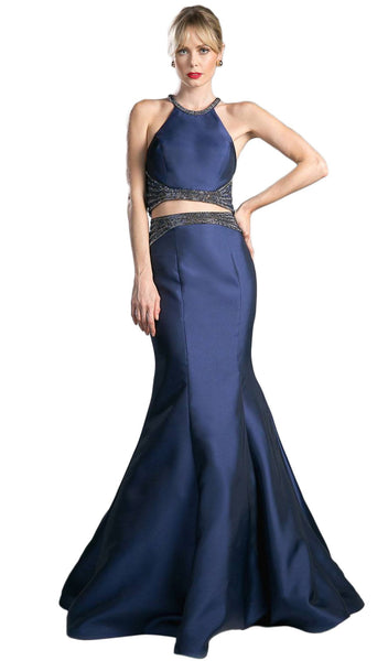 Halter Neck Beaded Two-Piece Mermaid Evening Gown