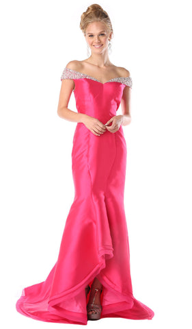 Fitted Embellished Off-Shoulder Mermaid Evening Gown
