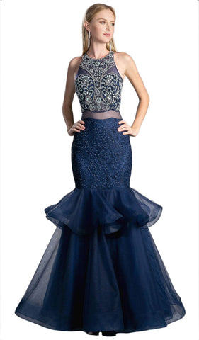 Sleeveless Faux Two-Piece Mermaid Evening Gown