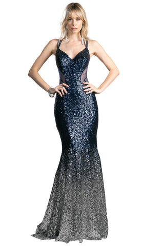 Strappy Sleeveless Sequined Mermaid Evening Gown