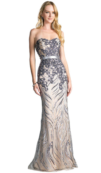 Strapless Sequined Sweetheart Sheath Prom Dress
