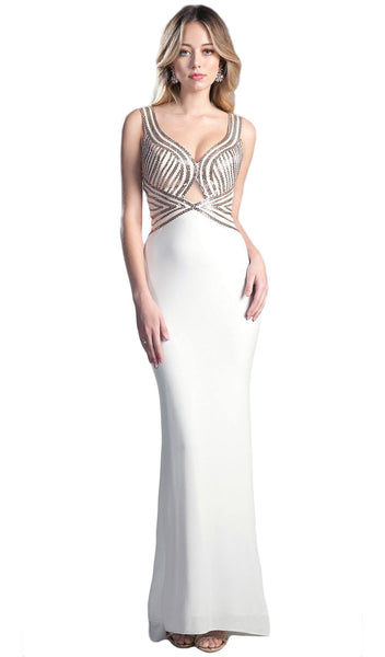 Sleeveless Beaded Form-Fitting Evening Gown