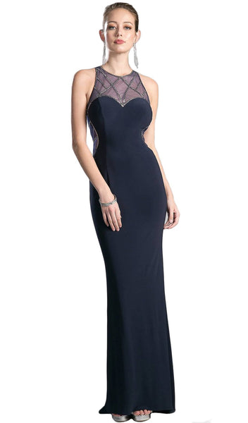 Sleeveless Illusion Beaded Sheath Evening Gown