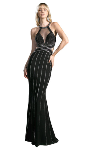 Dazzling Illusion Halter Sheath Prom Dress - ADASA