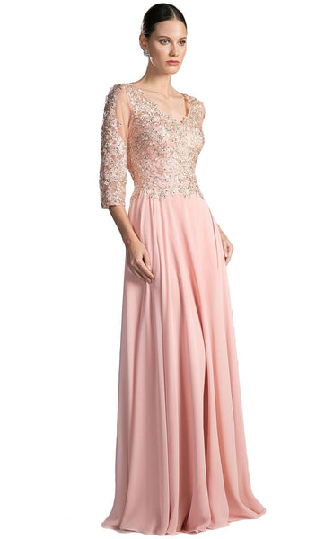 Beaded Lace V-neck Chiffon A-line Evening Dress - ADASA