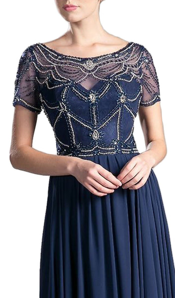 Jewel Beaded Short Sleeve Long Gown