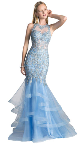 Beaded Sheer Tiered Mermaid Evening Dress - ADASA