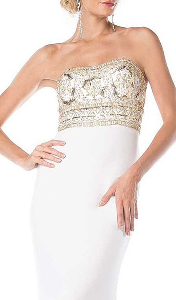 Fitted Embellished Strapless Evening Dress