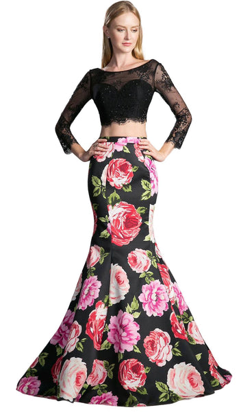Two Piece Lace Floral Mermaid Evening Dress