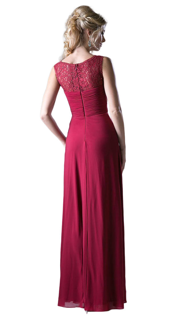 Sleeveless Embellished Lace Bateau Sheath Dress