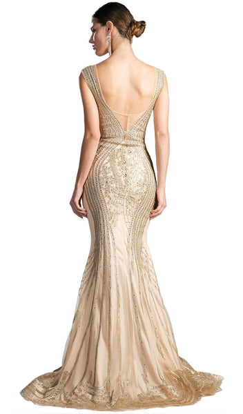 Bead Embellished Fitted Mermaid Evening Dress - ADASA
