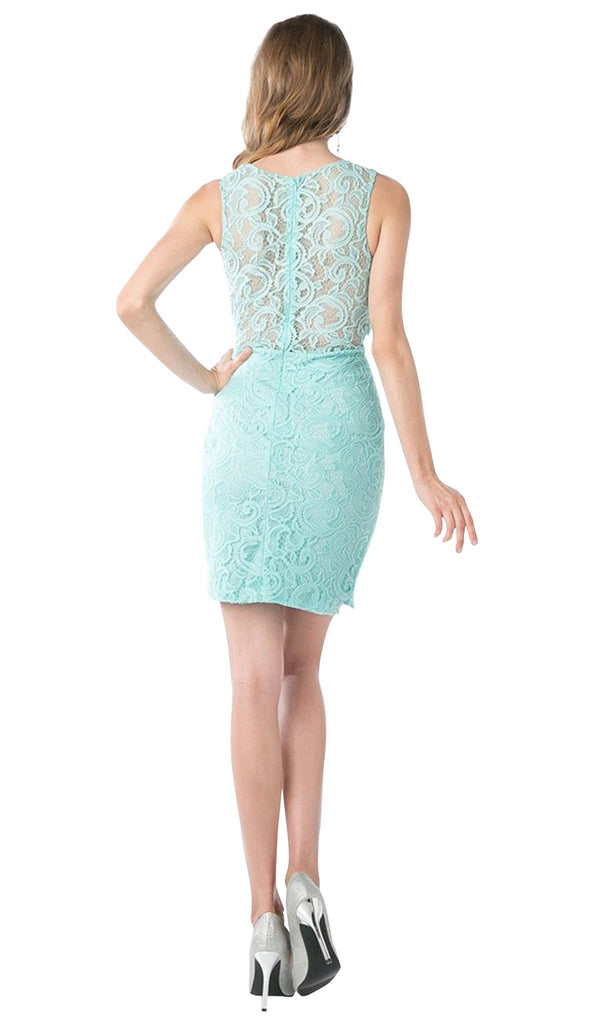 Sleeveless Illusion Jewel Lace Sheath Fitted Cocktail Dress