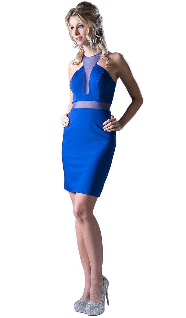 Mock Two Piece Illusion Halter Sheath Dress