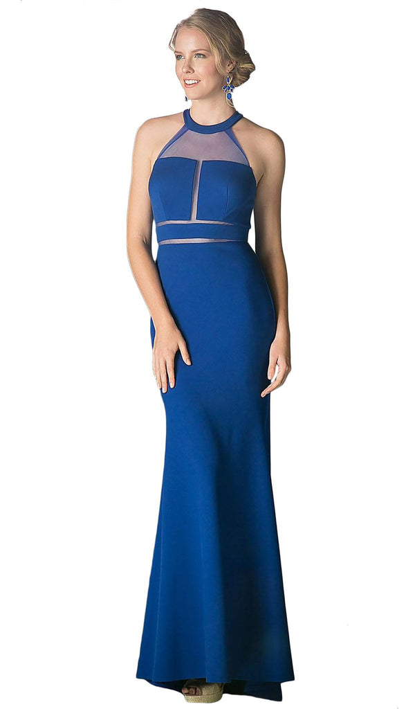 Sheer Fitted Halter Evening Dress