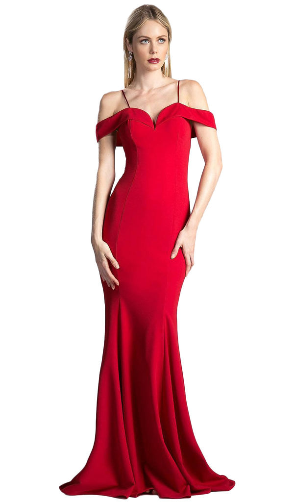 Foldover Sweetheart Jersey Sheath Evening Dress