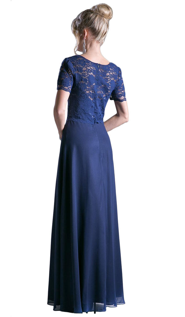 Short Sleeve Lace Bodice Mock Two-Piece Dress