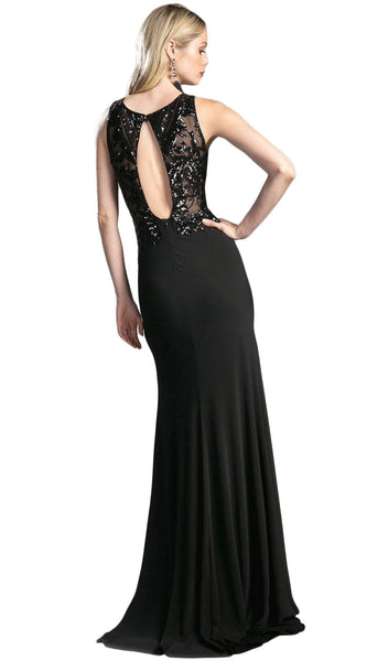 Sequined Sleeveless Sheath Evening Gown with Slit