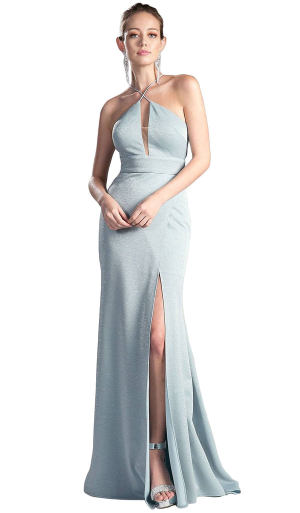 Shimmer Halter Neck Sheath Evening Dress