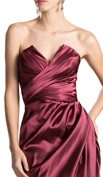 Strapless Ruched V-neck Sheath Dress