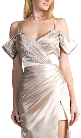 Pleated V-neck Satin A-line Evening Dress With Slit