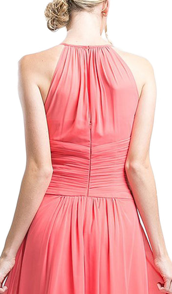 Sleeveless Ruched Halter A-line Dress