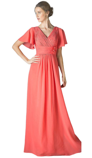 Rosette Accented Ruched V-neck A-line Dress