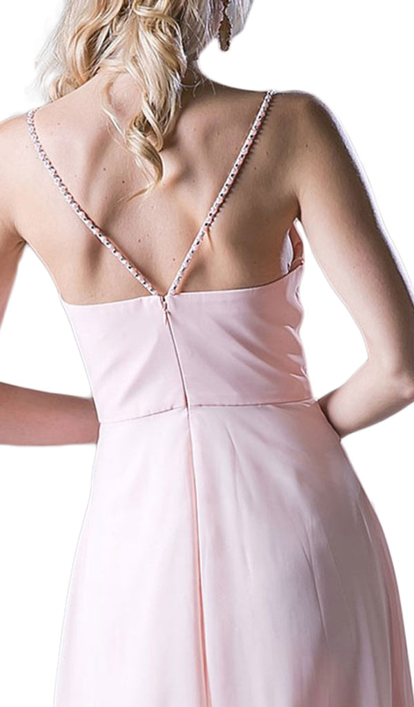 Embellished Strappy Ruched A-line Dress