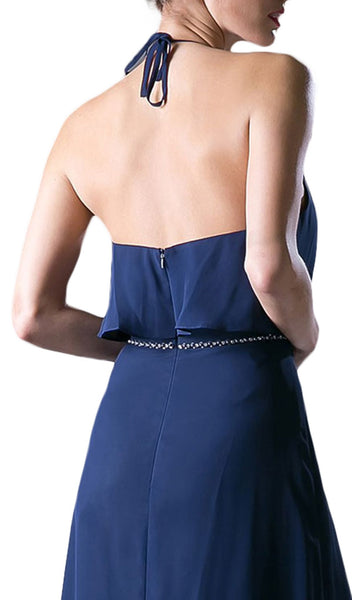 Sleeveless Halter Neck Embellished A-line Dress