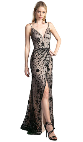 Sequined Deep V-neck Sheath Prom Dress With Slit